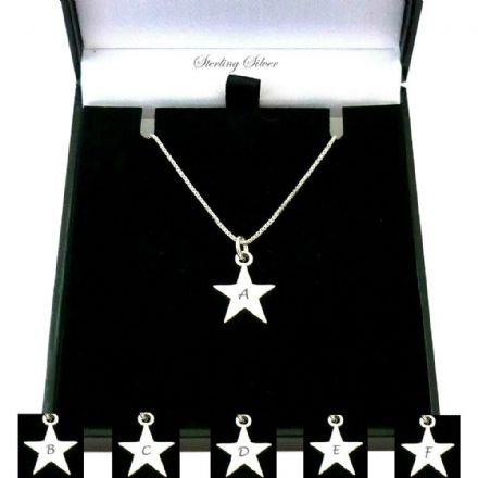 Star Necklace with Initial Engraved, Sterling Silver